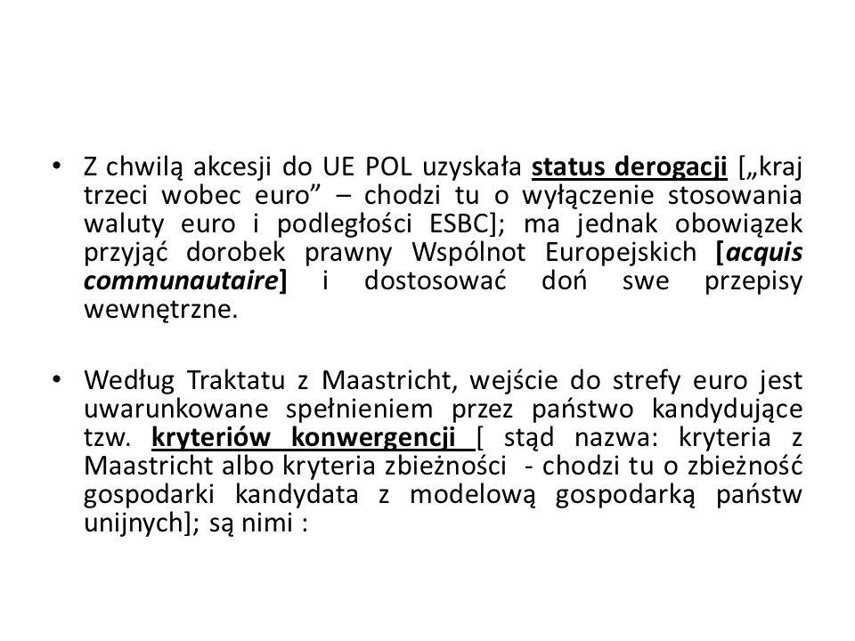 """Z chwilą akcesji do UE POL uzyskała status derogacji [""""kraj trzeci wobec euro – chodzi tu o wyłączenie stosowania waluty euro i podległości ESBC]; ma jednak obowiązek przyjąć dorobek prawny Wspólnot Europejskich [acquis communautaire] i dostosować doń swe przepisy wewnętrzne."""